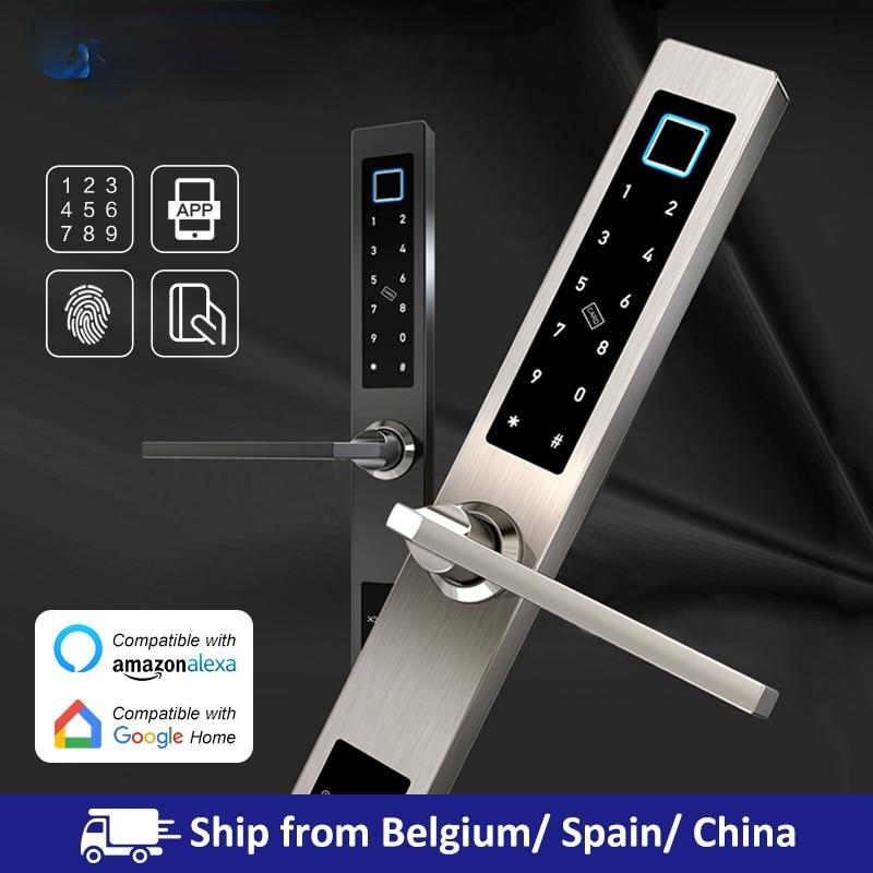 Promo European waterproof biometric fingerprint door Locks electronic Smart door lock RFID Card code lock For Aluminum Glass Door