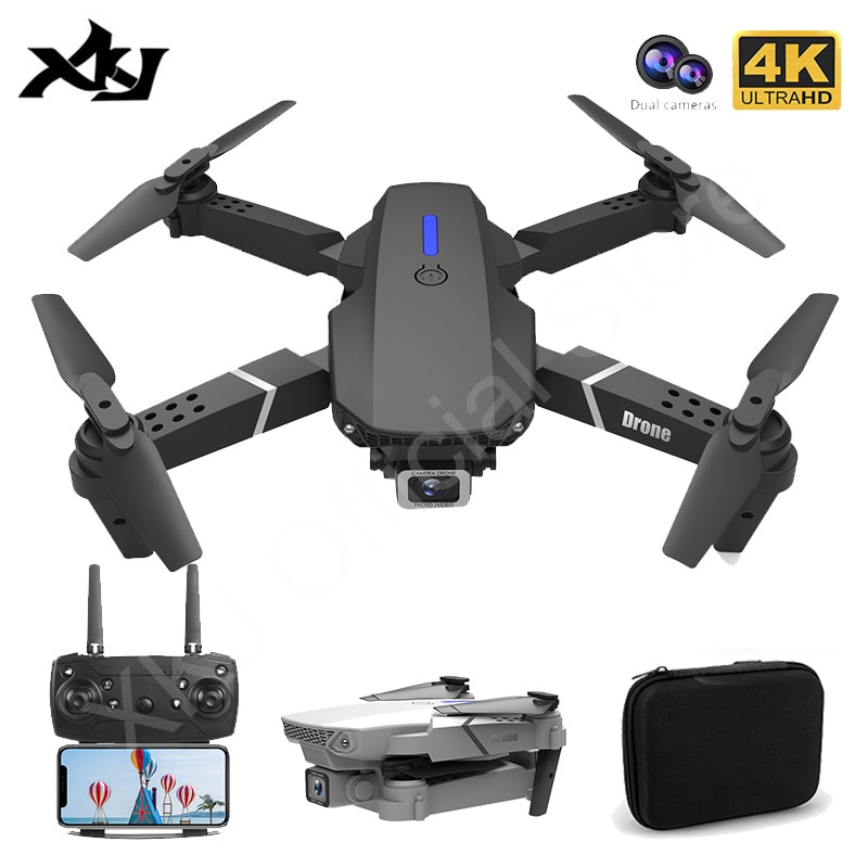 XKJ 2021 New E88 Pro Drone With Wide Angle HD 4K 1080P Dual Camera Height Hold Wifi RC Foldable Quadcopter Dron Gift Toy