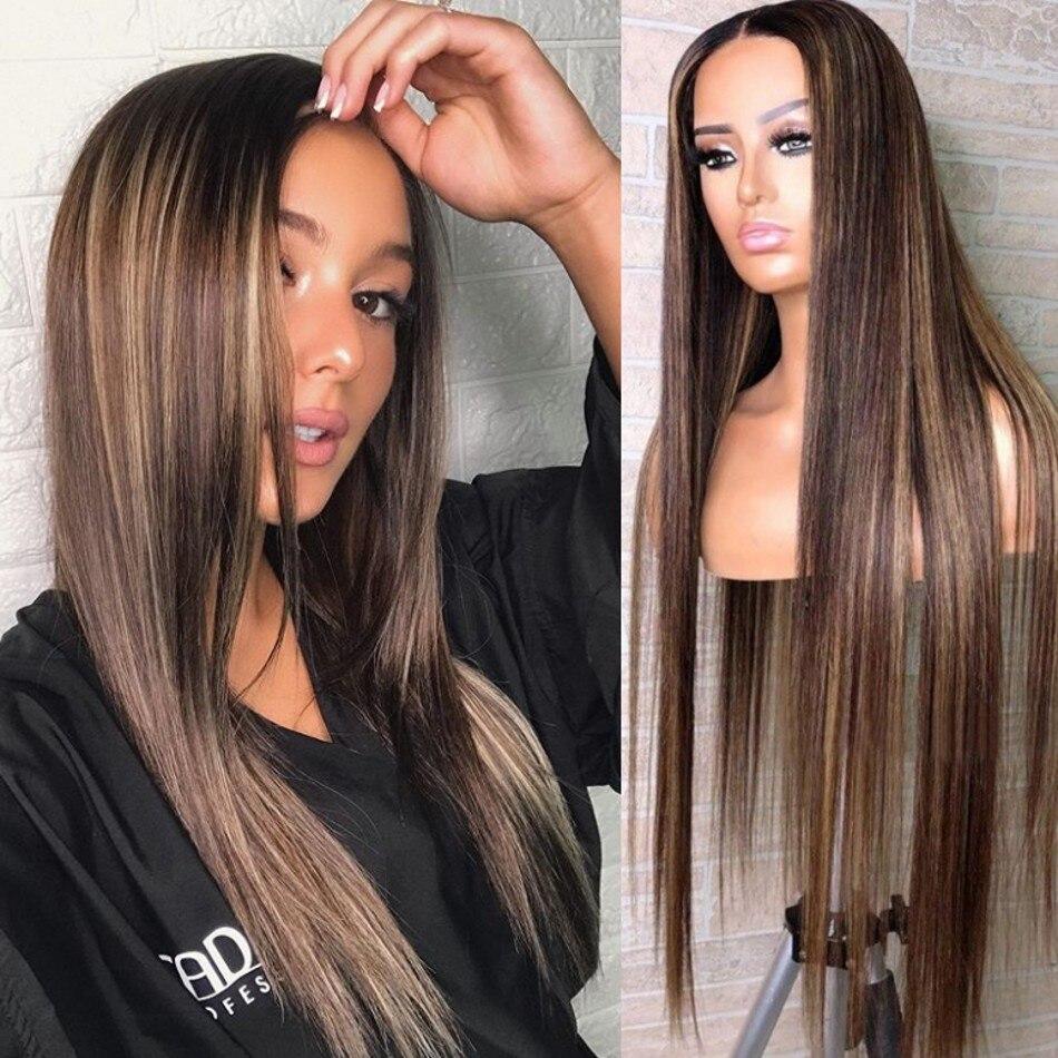26 pulgadas destaca seda superior, completo encaje pelucas de cabello humano Pre arrancó cabello sedoso recto frente de encaje 4x4 Base de seda pelucas