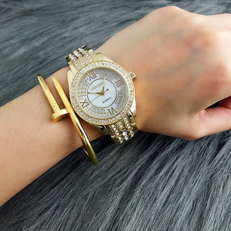 Women Watch Luxury Full Crystal CONTENA Brand Women's Watches Fashion Casual Quartz Wristwatch Female Clock zegarek meski Gift