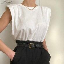 Macheda-T-shirt col rond pour femmes, Streetwear ample, ample, fendu, tricoté, sans manches, à la mode, décontracté