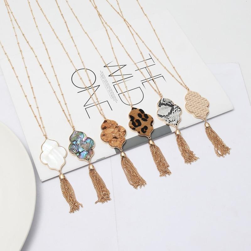 Flor hexágono abalone concha leopardo pingente colar borlas longa corrente camisola colar moda jóias geométricas