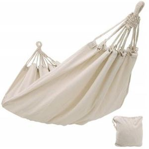 Double Hammock Outdoor Rollover Prevention Camping Canvas Hanging Swing Bed for Patio Travel Hiking