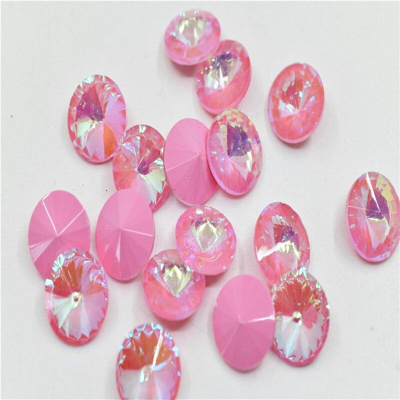 Розовые лазерные Стразы rivoli круглые хрустальные бусины 14 мм ювелирные аксессуары украшения сумок для одежды