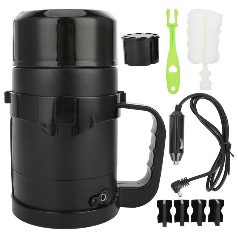 dmwd 12v 24v vehicle hot water boiling electric kettle travel truck thermal insulation heating cup car teapot boiler bottle 1 2l 12V/24V Car Electric Kettle 1100ml Stainless Steel Electric Kettles Intelligent Switch Coffee Water Boiling Teapot