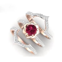 3pcsset fashion women ring exquisite rose gold rhinestones flower ring set for women accessories anniversary jewelry gift