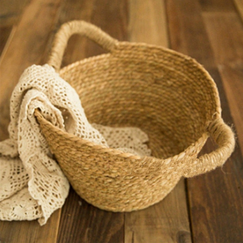 Baby photo prop basket newborn photography props photography accessories Hemp rope weaving props enlarge