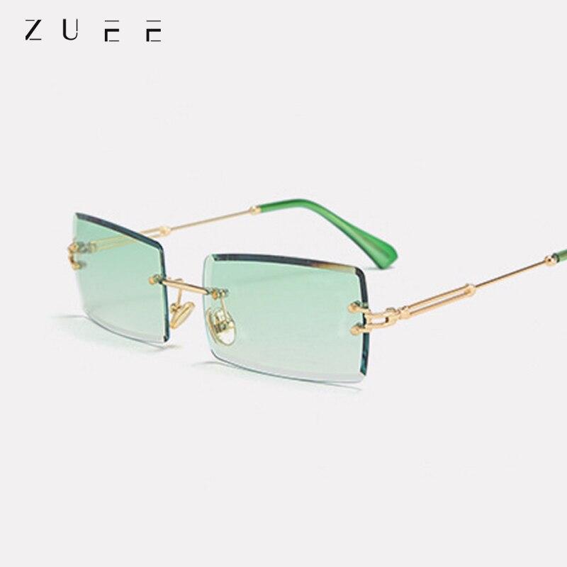 Fashion Popular Rimless Rectangle Sunglasses Women Men Shades Alloy Glasses UV400 Women Rimless Squa