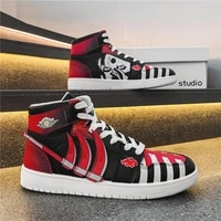 leather anime men sneakers zapatillas hombre high top rubber outdoor hidan casual flats akatsuki red lace up tenis masculino