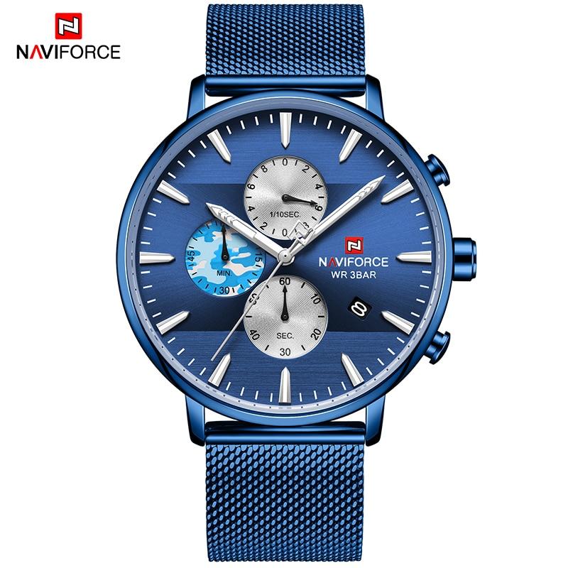 Marca de Luxo da Moda Relógios dos Homens Relógio de Pulso Novo Naviforce Impermeável Sport Chronograph Quartz Masculino Relógio Top