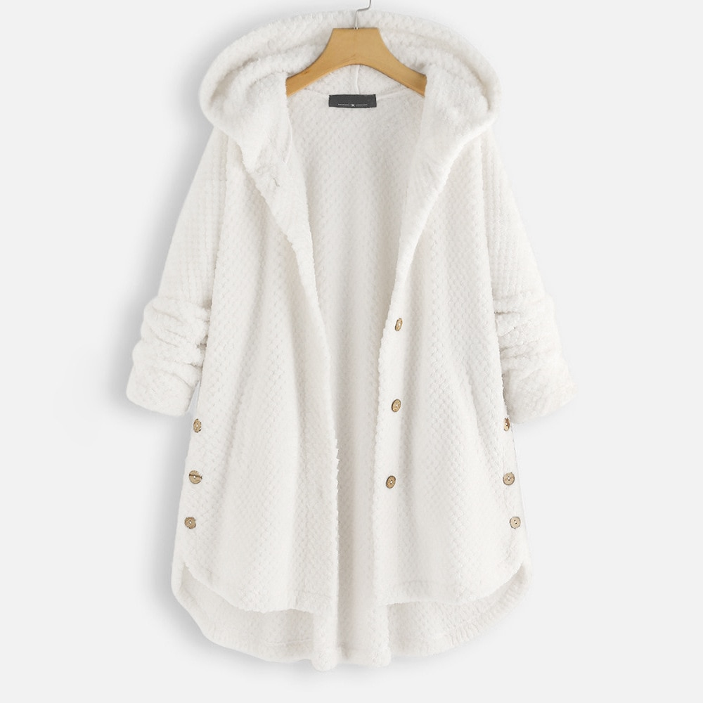 Фото - 2020 new casual autumn winter jacket solid color buttons long jacket hooded jacket long sleeve hooded jacket loose stitching fuzzy hooded jacket