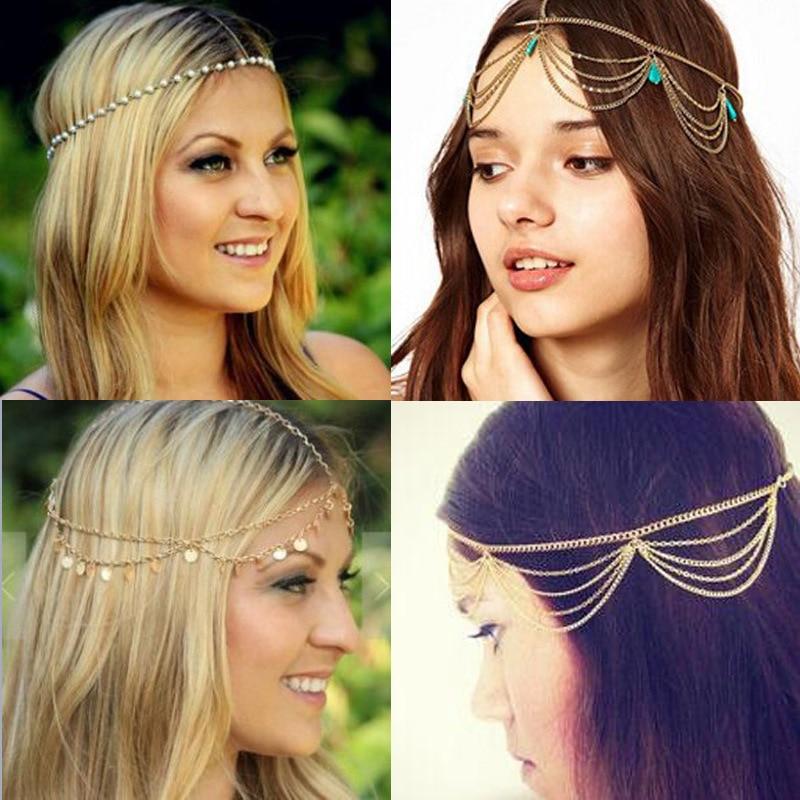 Moda feminina senhora metal ouro novo multicamadas boho cabeça corrente headpiece nupcial casamento penteado acessórios para o cabelo