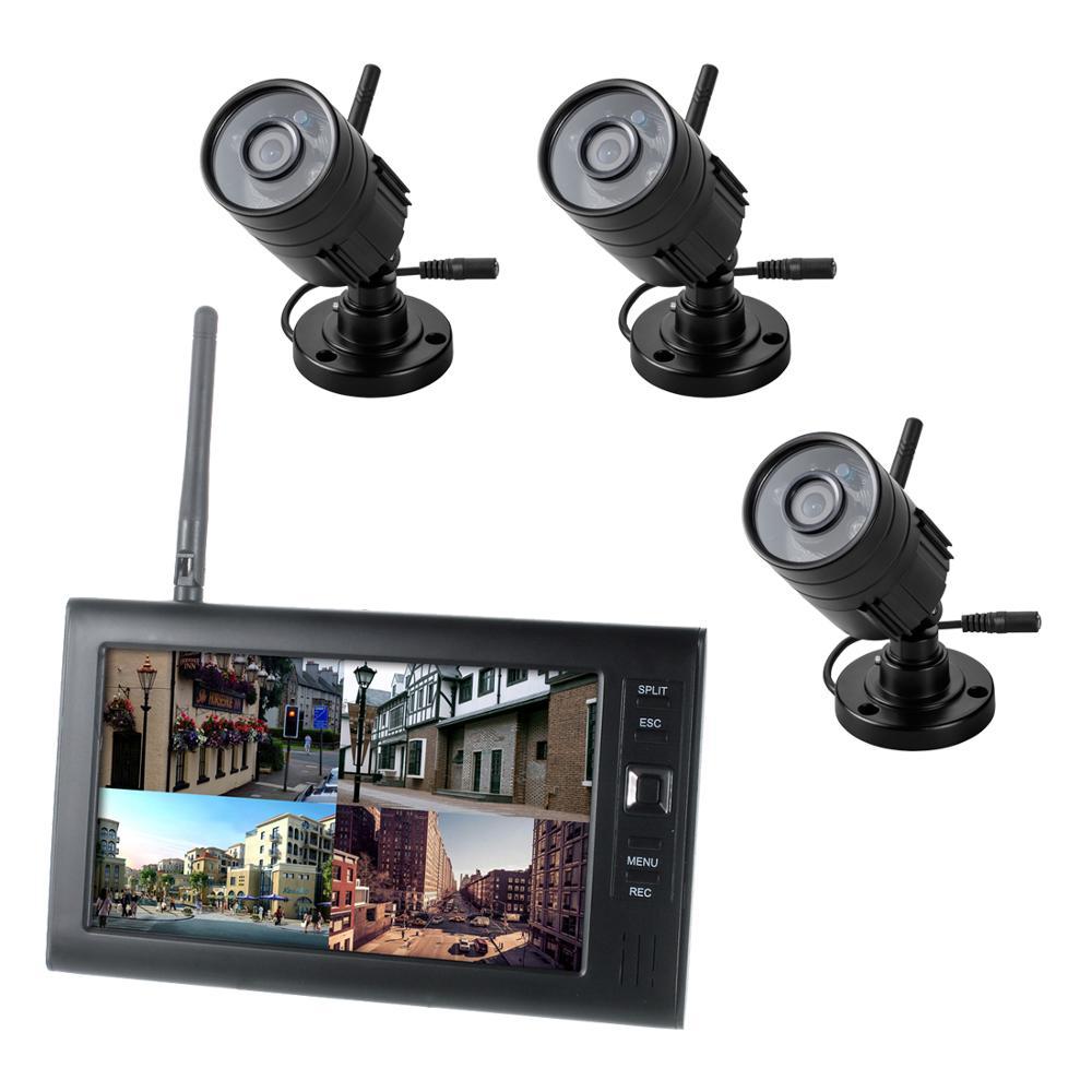 7 بوصة TFT الرقمية 2.4G كاميرات لاسلكية ، صوت ، فيديو ، مراقبة الطفل ، 4CH ، نظام أمان DVR رباعي ، مع إضاءة ليلية بالأشعة تحت الحمراء 3 كاميرات