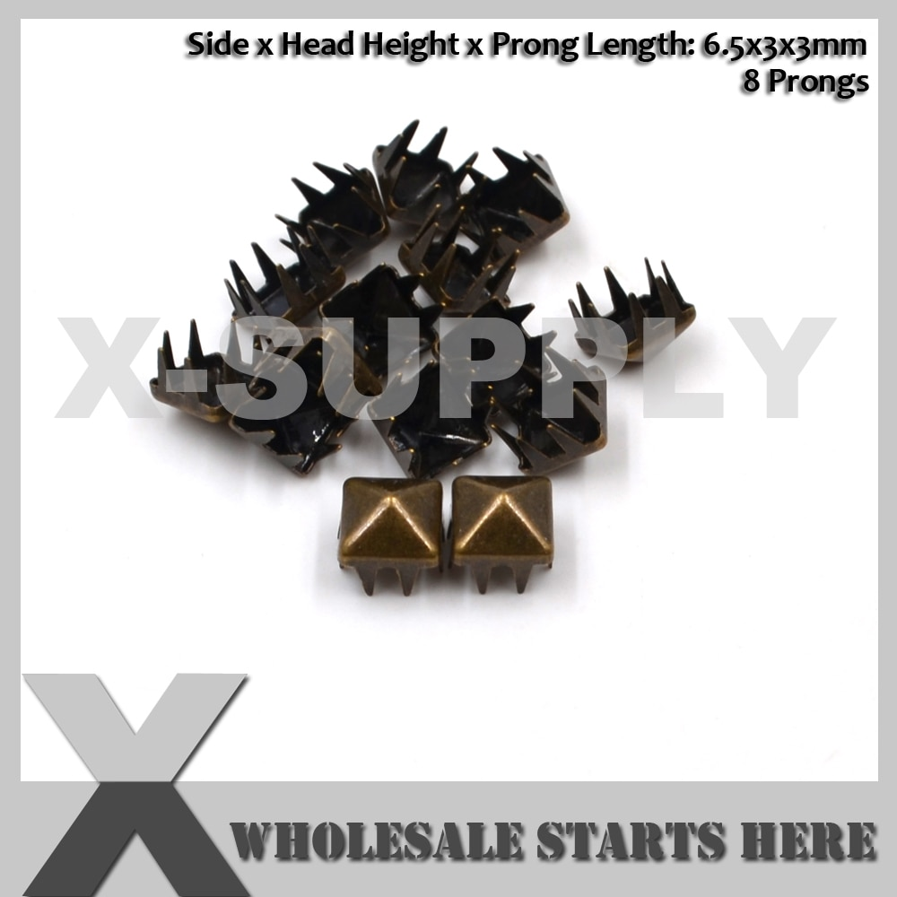 Tachuelas piramidales de latón antiguo de 6,5x3mm con 8 puntas para ropa de zapatos y bolsos artesanales de cuero