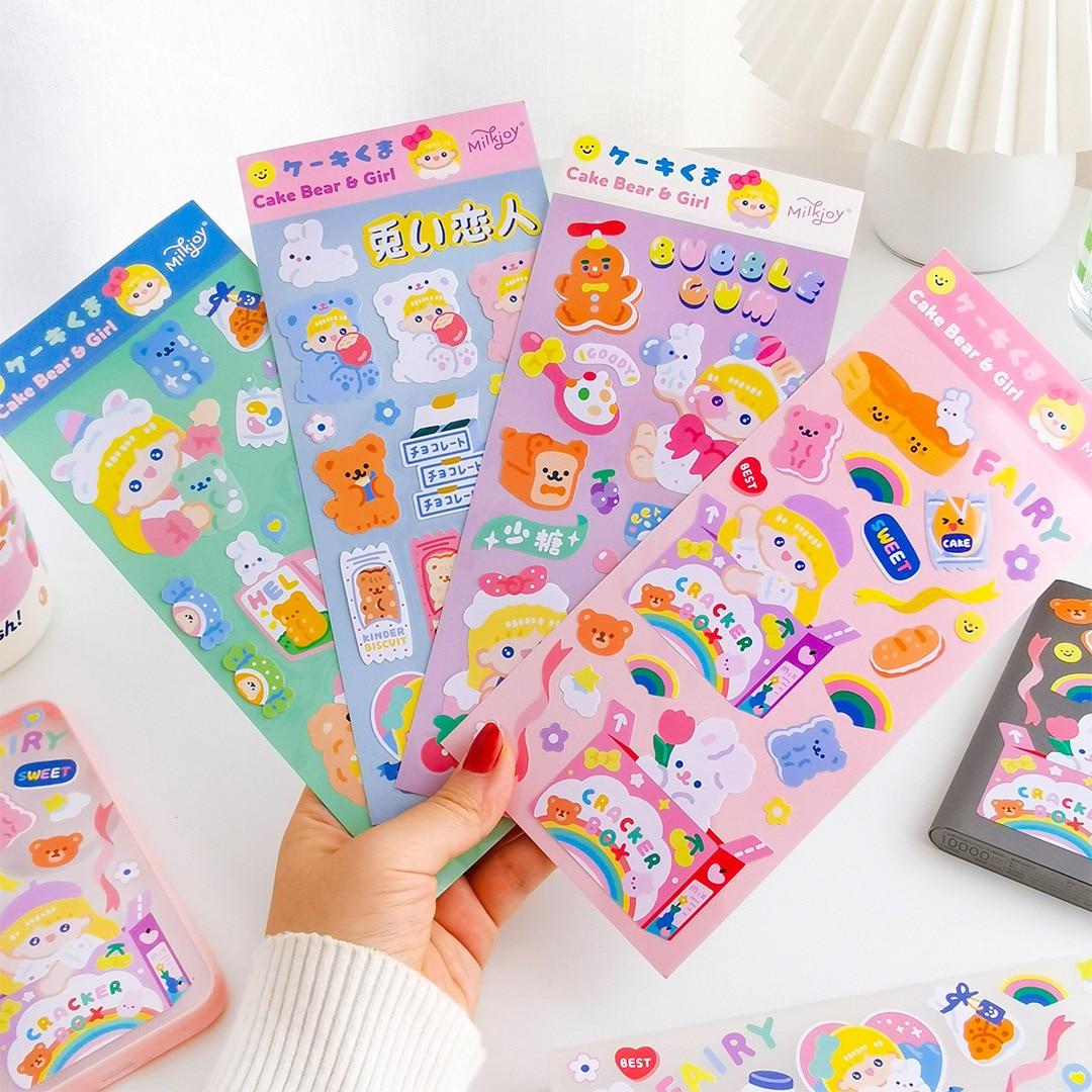 adesivos coreanos urso 2 pecas 4 pecas etiqueta diy bagagem post adesivo de casa