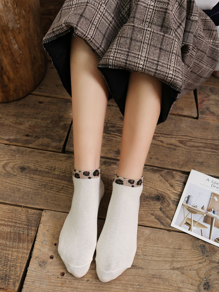 New Net Red Pattern Women s Boat Socks All Cotton Shallow Spring and Summer Leopard Print Adult