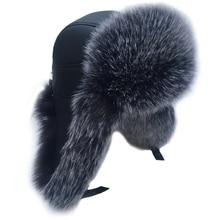MTTZSYLHH Men's Pilot Hat Fox Fur Russian Winter Hat Warm Upscale Ears Bombshell Artificial Leather