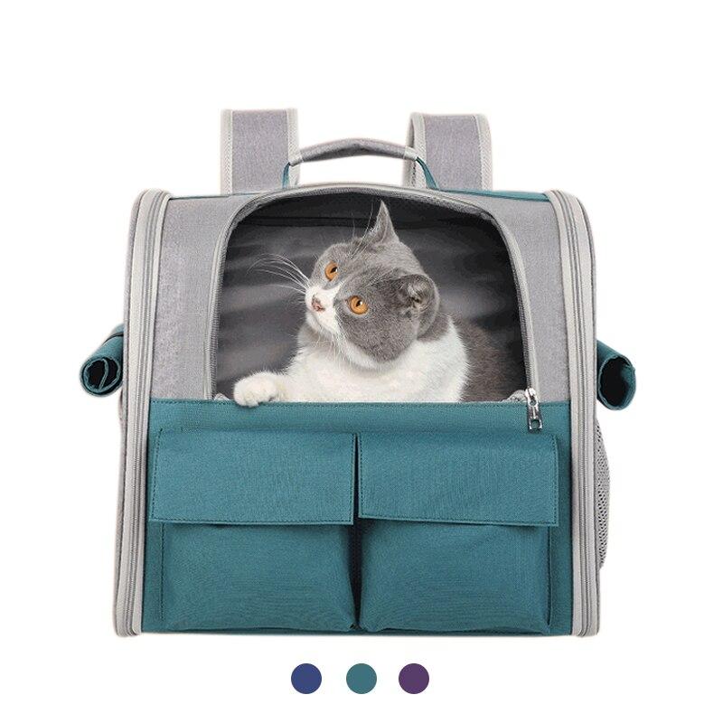 Pet mochila porta gato bolsa de portátil mochila portamascotas de viaje al...