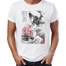 T-shirt homme lovship lappel de Cthulhu Kaiju la grande vague au large de Kanagawa