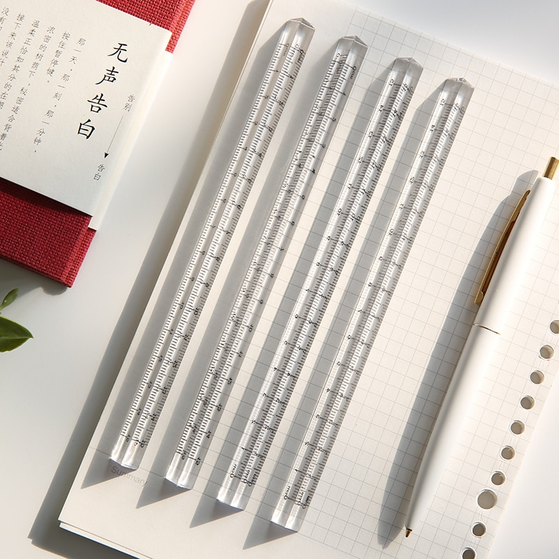 Mohamm 1PC Transparent Triangle Ruler Stationery School Supplies