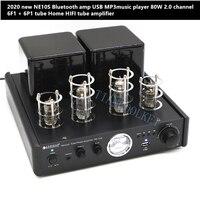 2020 new NE10S Bluetooth amp USB MP3music player 80W 2.0 channel 6F1 + 6P1 tube Home HIFI tube amplifier