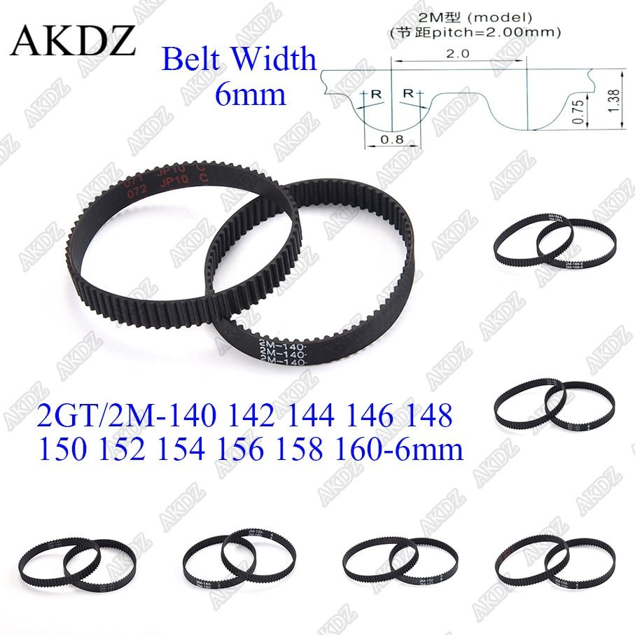 2mgt 2m 2gt synchronous timing belt pitch length 162 164 166 168 170 172 174 176 178 180 182 width 6mm rubber closed 2MGT 2M 2GT Synchronous Timing belt Pitch length 140 142 144 146 148 150 152 154 156 158 160 width 6mm  Rubber closed