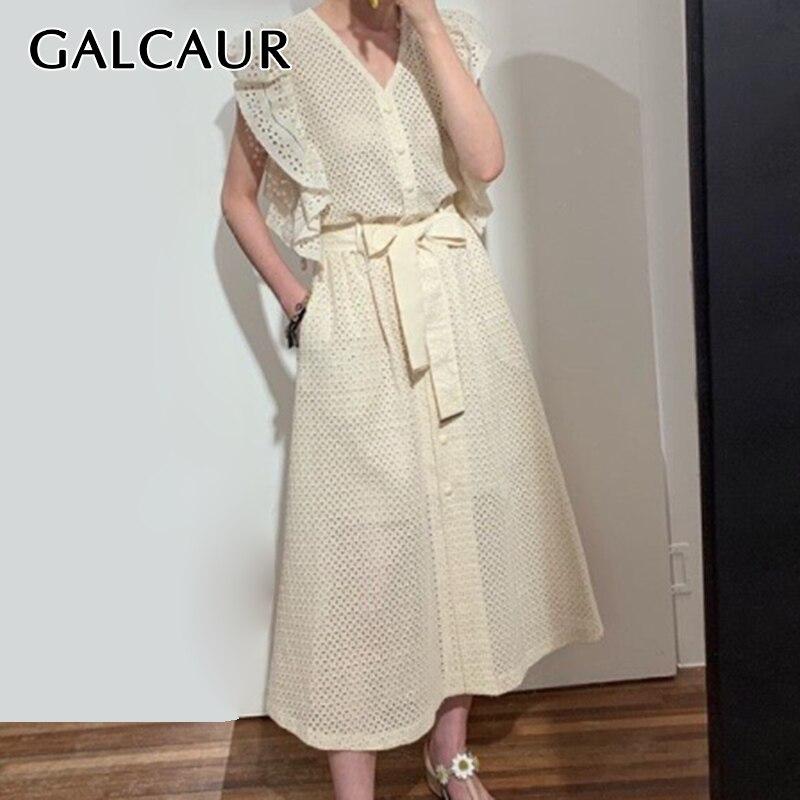GALCAUR Patchwork Ruffles Dress Women V Neck Sleeveless Loose Hollow Out Bandage Midi Summer Dresses Female 2020 Clothes New