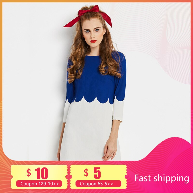 Vestidos Retro para mujer, vestido ajustado corto elegante dulce Vintage a la moda, vestidos azules de oficina con manga tres cuartos y cremallera