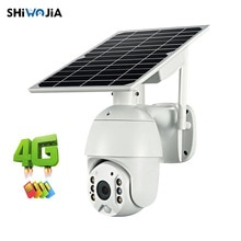 SHIWOJIA  4G WIFI Solar IP PTZ Cameras Starlight full color IR vision P2P 4G sim card IR Vision dome camera Cloud storage camera
