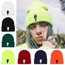Gorro bordado feminino billie eilish merch quente tópico logotipo beanie malha chapéu elástico boné sólido hip-hop casual algemado beanies