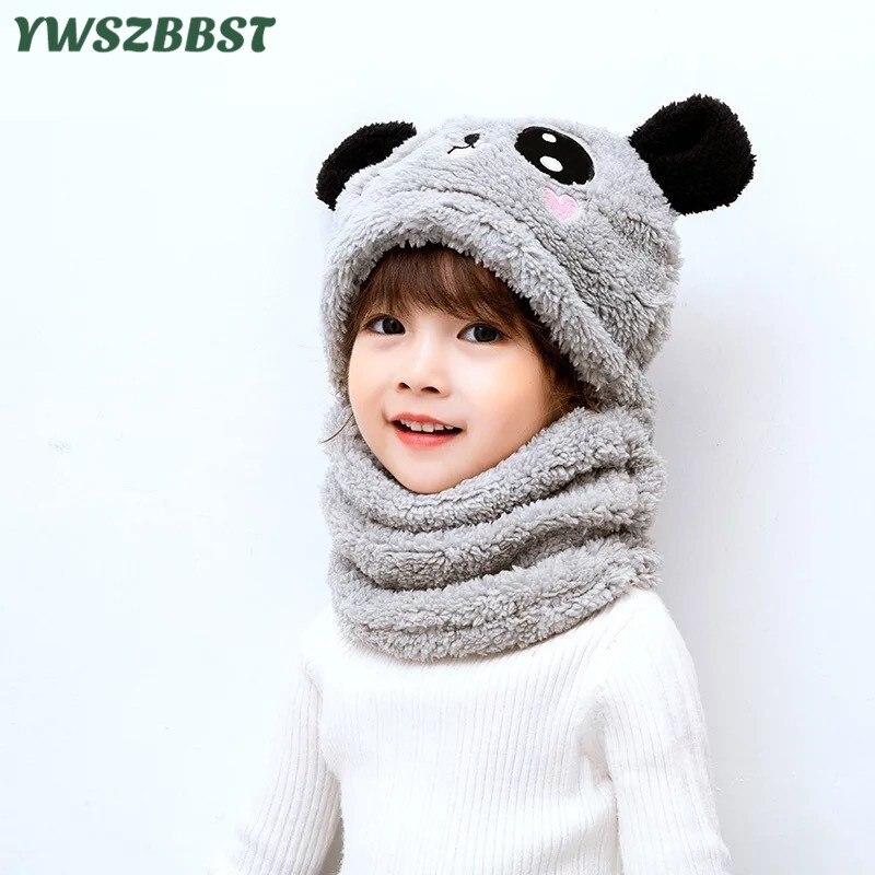 Детская одежда из новой зимней шапки; Бархатные комплекты для малышей с мультипликационным принтом «панда» с кроликом детские головных убо...