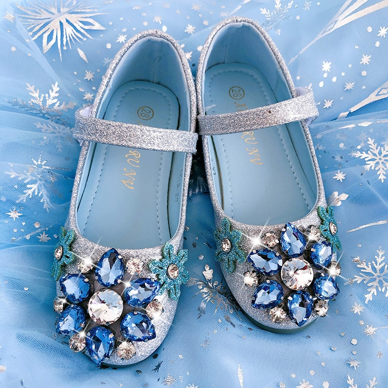 Girl's shoes Princess Elsa shoes crystal children's fashion show shoes birthday shoes blue Halloween  Party Rhinestone shoes enlarge