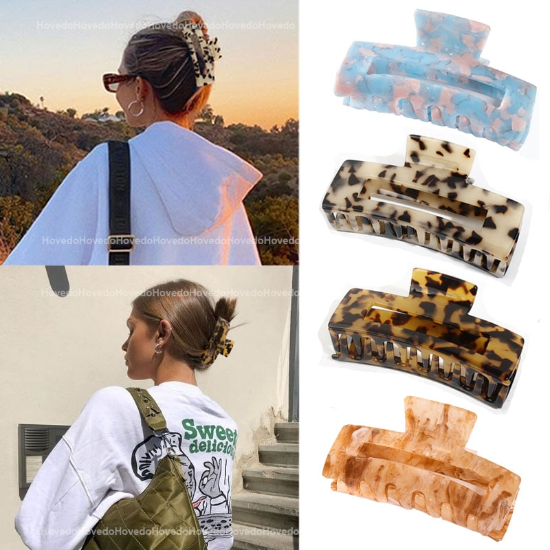 High Quality Geometric Acetate Hair Claws Large Square Hair Crabs Clip Leopard Grain Hair Clamps For