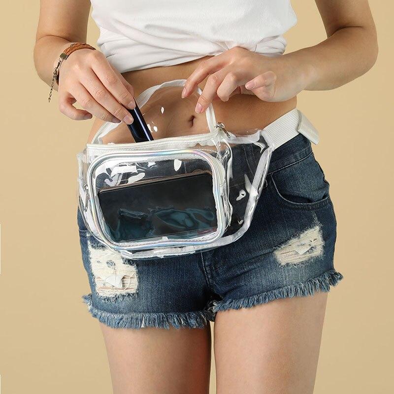 Bolso de cintura transparente a prueba de agua PU bolsa de pecho transparente para el cinturón mujeres hombres cinturón bolsa viaje cadera paquetes de Dropship