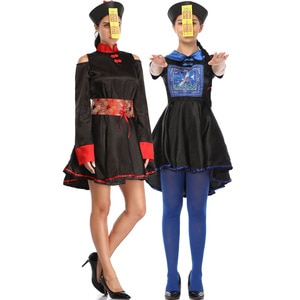 M-XL Halloween Female Zombie Costume Cosplay Qing Dynasty Huangshan Taoist Horror Ghost Clothes Death Clothes halloween costume