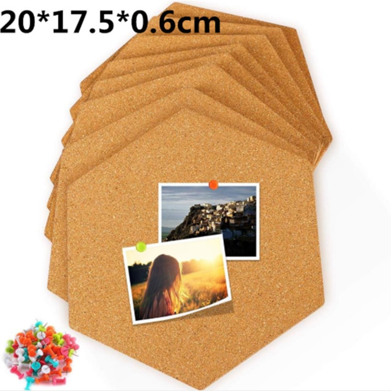 8pcs Hexágono placa da mensagem placa de cortiça foto adesivo de parede auto-adesivo fundo da parede publicidade coluna adesivo de parede da cortiça