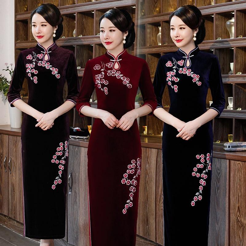 Cheongsam de algodón y lino Cheongsam Retro chino viento largo Cheongsam vestido para chicas tradicionales chinas mujeres Qipao largo