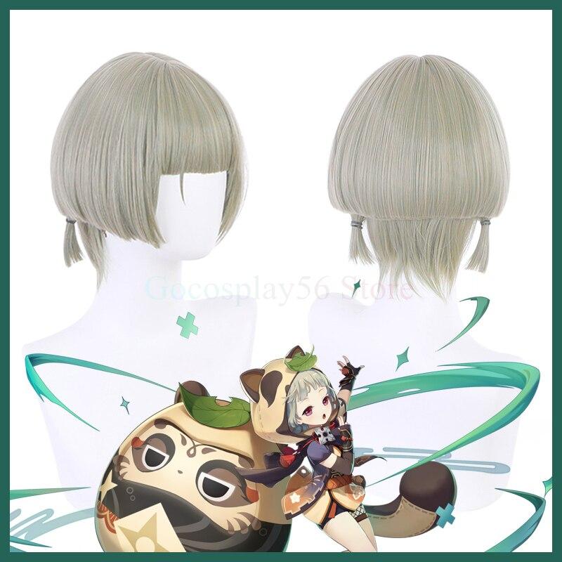 Genshin تأثير سايو شعر مستعار تأثيري قصيرة رمادي أخضر مقاومة للحرارة الشعر هالوين أنيمي دور اللعب