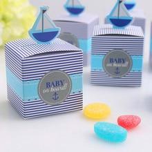 (50pcs) חתונה טובות סוכריות קופסות שיט סירת מתנות נישואי תינוק לידה מקלחת סוכריות קופסות DIY