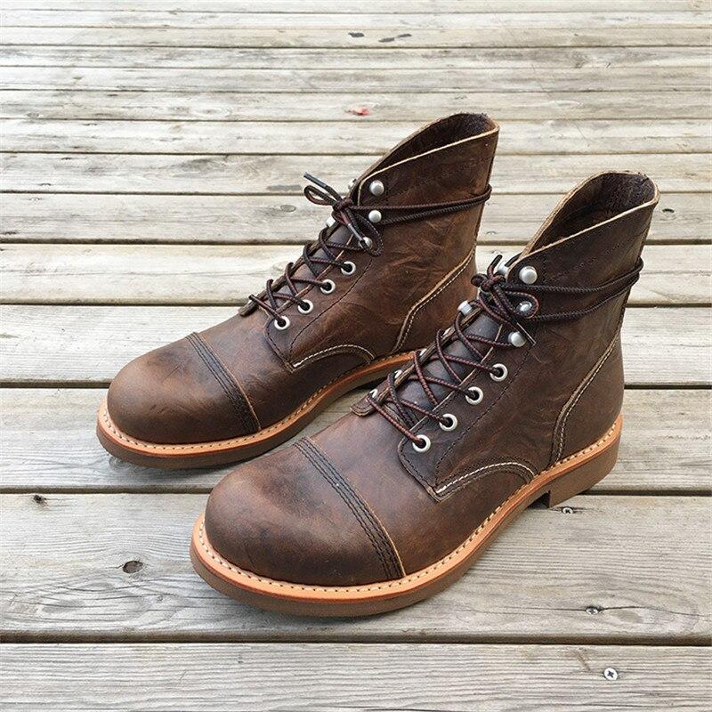 Novo outono feito à mão goodyear welted sapatos masculinos do vintage botas de couro vaca tornozelo botas plataforma britânica botas militares da motocicleta