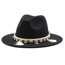 Hot Selling British Style Big Brim Woolen Top Hat Gentleman Cap Autumn Winter Classic Ethnic Style R