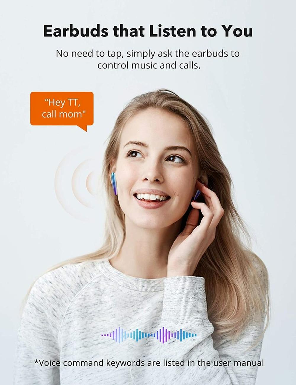 TaoTronics SoundLiberty 80 Bluetooth Earphones Wireless Earbuds TWS AptX IPX7 Waterproof Earphone with AI Noise Canceling Mic enlarge
