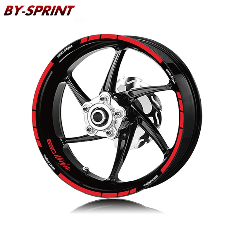For KAWASAKI NINJA650 NINJA 650 ninja650 Motorcycle Tire Stickers Stripes Reflective Waterproof Wheel LOGO Decals Set