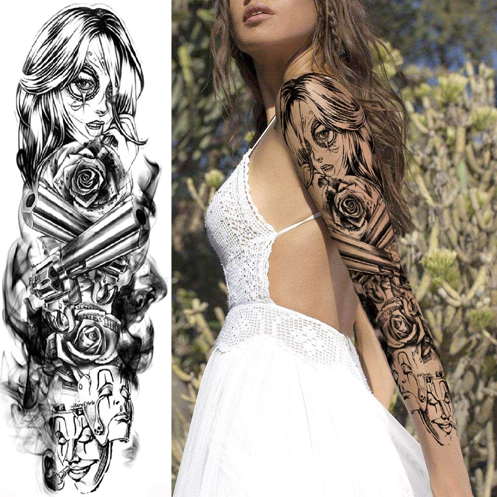 Anime Gun Lady Temporary Flower Tattoos For Men Women Mask  Body Art Full Arm Sleeve Tatoos Water Trasnfer Rose Tattoo Stickers