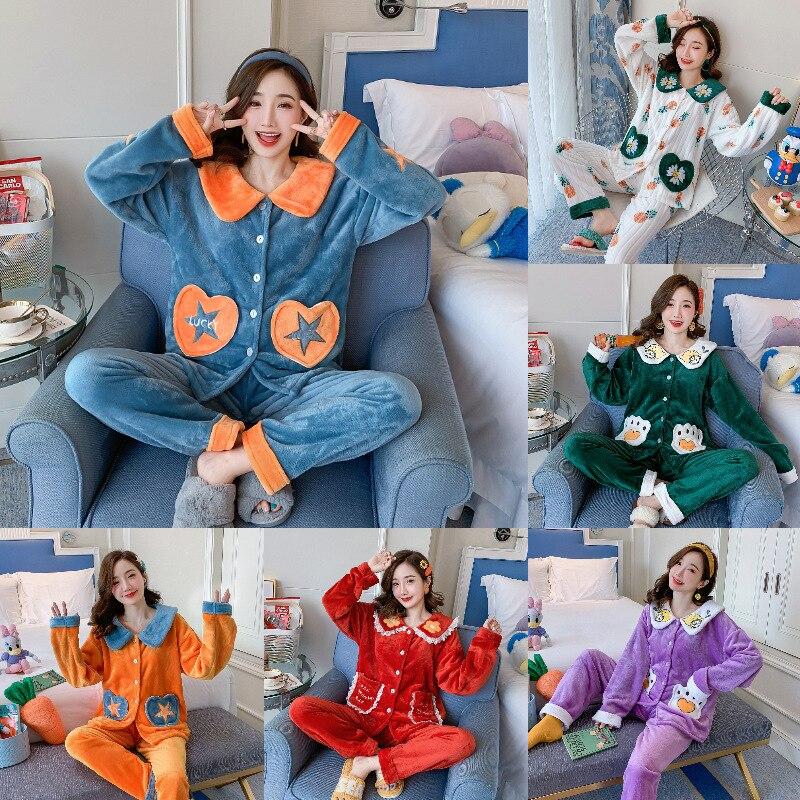 Pijamas femininos outono e inverno espessamento e veludo pode ser usado fora de lã coral flanela duas peças senhoras terno inverno