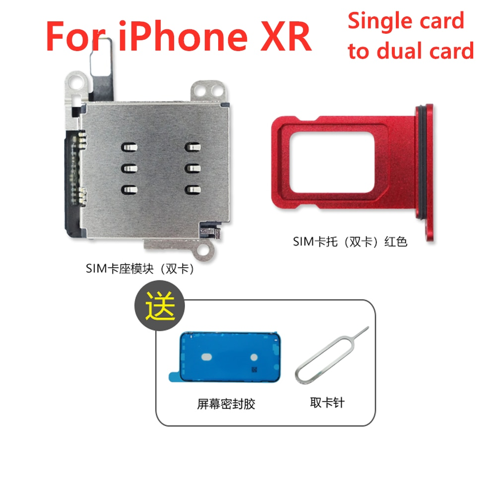For iPhone XR Dual Sim Card Reader Socket Slot Flex Cable + Daul Sim Card Tray Holder Replacement Sp