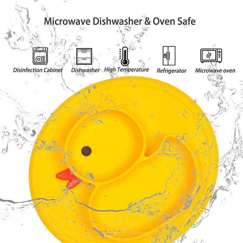 Platos para niño divididos de silicona superior-platos portátiles sin ventosa antideslizante para niños Bebés y Niños plato de cena (pato-Yell