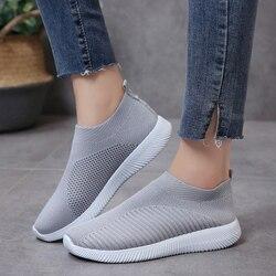 Женские кроссовки на платформе Rimocy, мягкие кроссовки из дышащей сетки без шнуровки, на каждый день, женские вязаные носки на плоской подошве, большие размеры 43