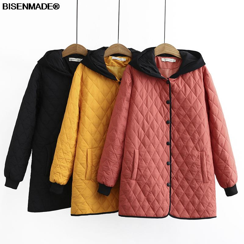 Autumn Winter Parka Women Clothes Plus Size&Curve 2021 New Padded Coat Hooded Contrast Color Single Breasted Outerwear