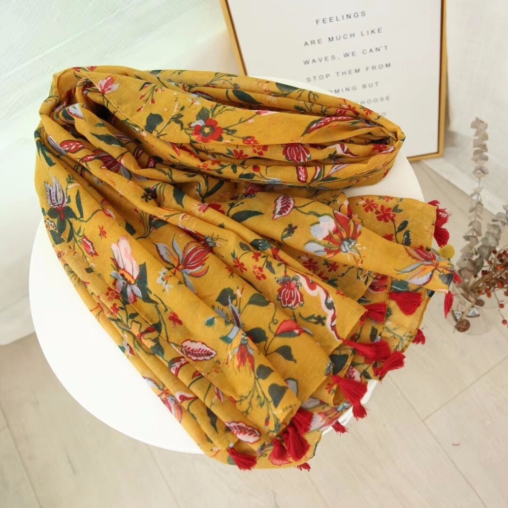 2021 Newest Women Floral Printed Tassel Scarf Cotton Scarf Shawls Wraps Hijabs